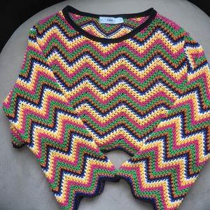 Zara Knit multicolored chevron retro crop top (Y)
